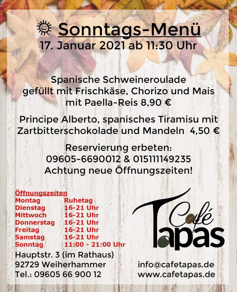 Sonntagsmenü 50.50.50 ab 5050 Uhr – Café Tapas